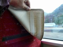 キハ127-2の一人がけ座席の枕カバー